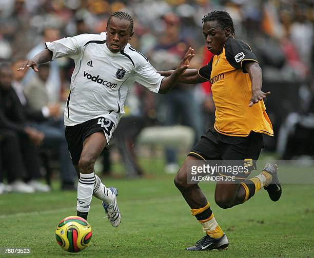 Orlando Pirates Chenene Bennet tackles Kaizer Chiefs Onismor Bhasera during a match between South African teams Kaizer Chiefs and Orlando Pirates in...