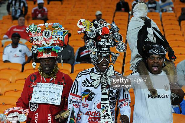 Orlando Pirates supporters during the CAF Confedaration Cup match between Orlando Pirates and Zanaco at FNB Stadium on April 06 2013 in Johannesburg...