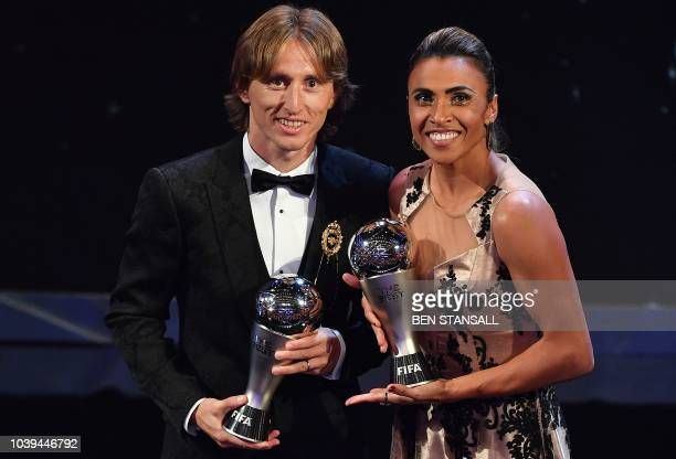 Orlando Pride and Brazil forward Marta and Real Madrid and Croatia midfielder Luka Modric winners of the Best FIFA Women's and Men's Player of 2018...