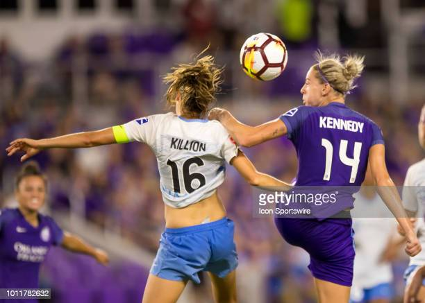 Orlando Pride defender Alanna Kennedy challenges Sky Blue FC midfielder Sarah Killion for a header during the NWSL soccer match between the Orlando...