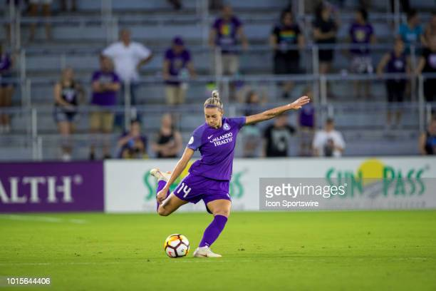 Orlando Pride defender Alanna Kennedy kicks the ball during the soccer game between the Orlando Pride and the Portland Thorns on August 11 2018 at...