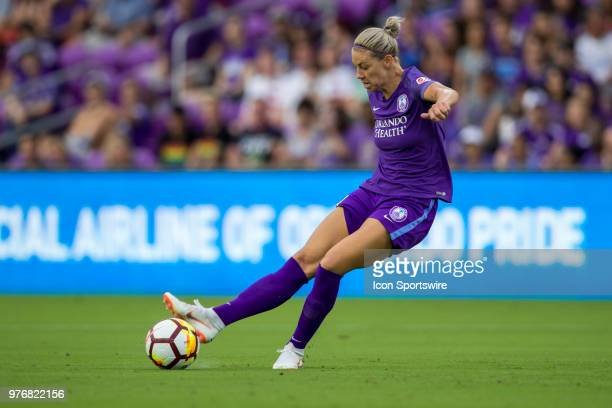 Orlando Pride defender Alanna Kennedy kicks the ball during the soccer match between The Orlando Pride and Sky Blue FC on June 16 2018 at Orlando...