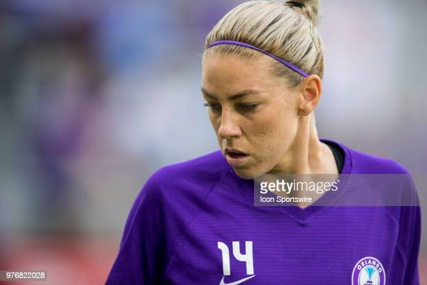 Orlando Pride defender Alanna Kennedy warms up before the soccer match between The Orlando Pride and Sky Blue FC on June 16 2018 at Orlando City...