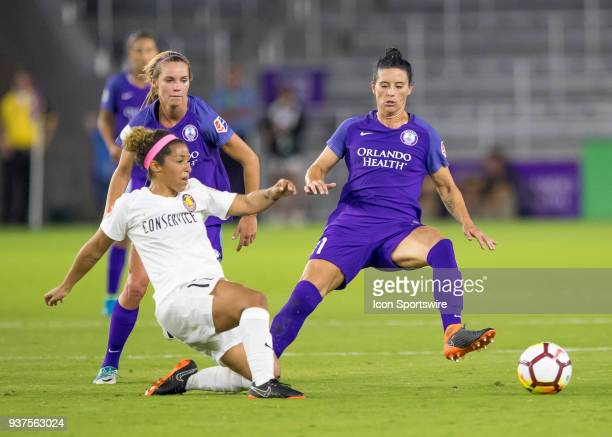 Orlando Pride defender Ali Krieger blocks the ball during the NWSL soccer match between the Orlando Pride and the Utah Royals on March 24 2018 at...