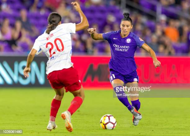 Orlando Pride defender Ali Krieger during the NWSL soccer match between the Orlando Pride and the Chicago Red Stars on August 25th 2018 at Orlando...