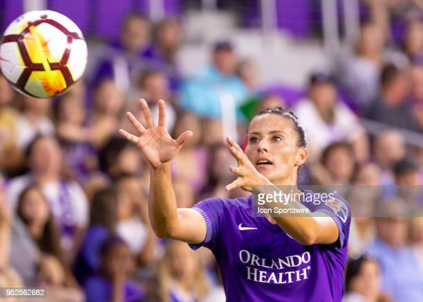 Orlando Pride defender Ali Krieger gets ready to take a throw in during the NWSL soccer match between the Orlando Pride and the Seattle Reign on...