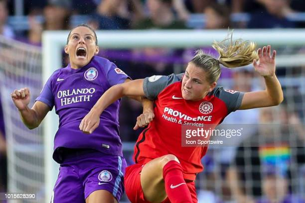 Orlando Pride defender Ali Krieger goes up for a header during the soccer game between the Orlando Pride and the Portland Thorns on August 11 2018 at...