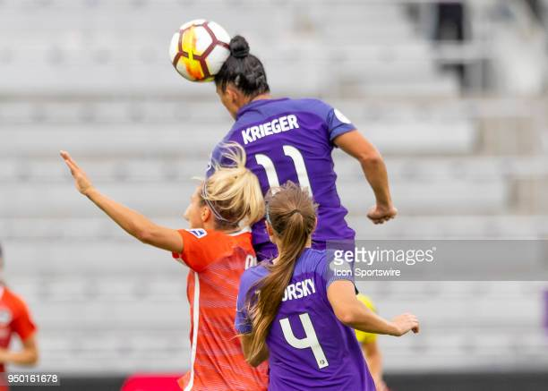 Orlando Pride defender Ali Krieger goes up for a header during the NWSL soccer match between the Orlando Pride and the Houston Dash on April 22 2018...