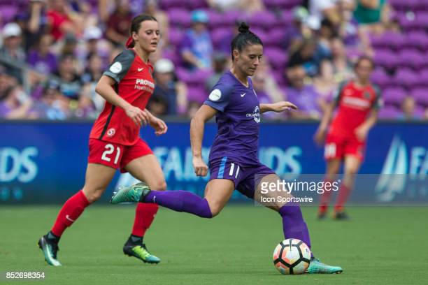 Orlando Pride defender Ali Krieger kicks the ball during the NWSL soccer match between the Orlando Pride and Portland Thorns FC on September 23 2017...