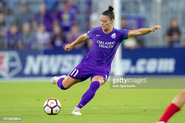 Orlando Pride defender Ali Krieger kicks the ball during the soccer game between the Orlando Pride and the Portland Thorns on August 11 2018 at...