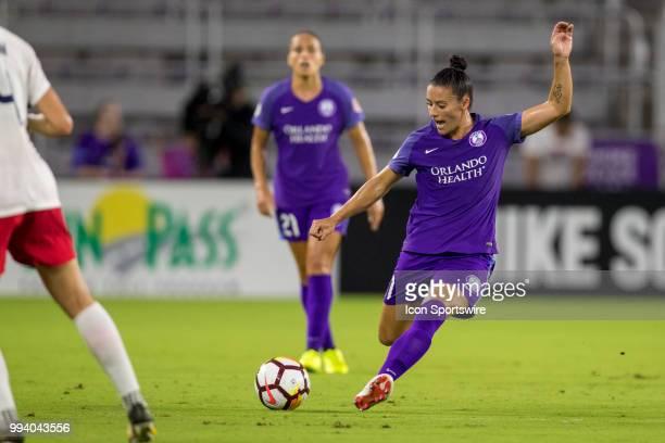Orlando Pride defender Ali Krieger kicks the ball during the soccer match between the Orlando Pride and the Washington Spirit on July 7 2018 at...