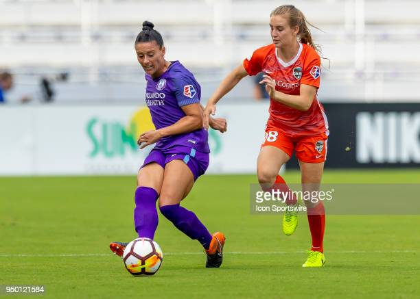 Orlando Pride defender Ali Krieger passes the ball during the NWSL soccer match between the Orlando Pride and the Houston Dash on April 22 2018 at...