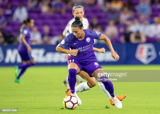 Orlando Pride defender Ali Krieger passes the ball during the NWSL soccer match between the Orlando Pride and the Washington Spirit on July 7th 2018...