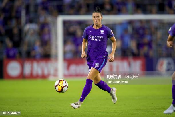 Orlando Pride defender Ali Krieger with the ball during the soccer game between the Orlando Pride and the Portland Thorns on August 11 2018 at...