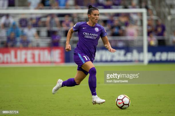 Orlando Pride defender Ali Krieger with the ball during the soccer match between the Orlando Pride and the NC Courage on June 30 2018 at Orlando City...