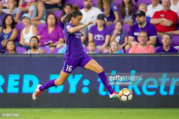 Orlando Pride defender Carson Pickett kicks the ball during the soccer match between The Orlando Pride and Sky Blue FC on June 16 2018 at Orlando...
