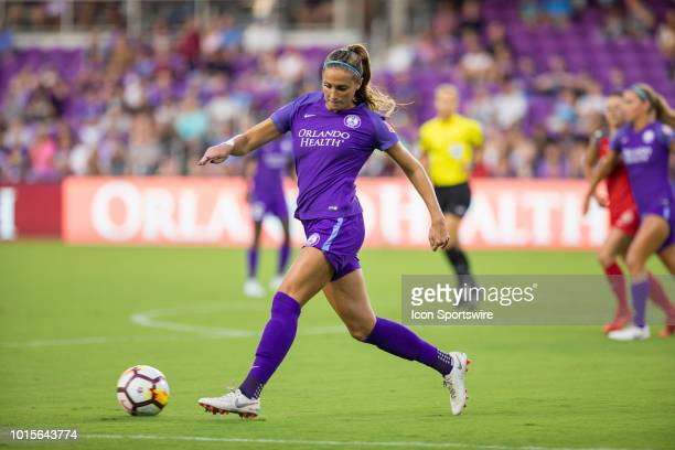 Orlando Pride defender Shelina Zadorsky with the ball during the soccer game between the Orlando Pride and the Portland Thorns on August 11 2018 at...