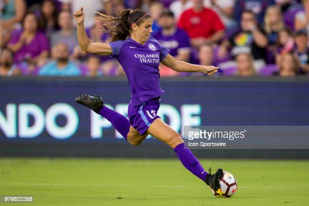 Orlando Pride forward Alex Morgan kicks the ball during the soccer match between The Orlando Pride and Sky Blue FC on June 16 2018 at Orlando City...
