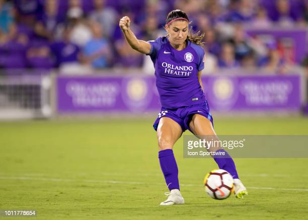 Orlando Pride forward Alex Morgan shoots on goal during the NWSL soccer match between the Orlando Pride and New Jersey Sky Blue FC on August 5th 2018...