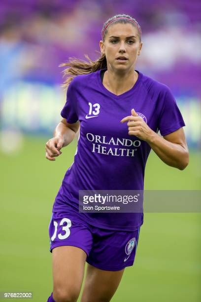 Orlando Pride forward Alex Morgan warms up before the soccer match between The Orlando Pride and Sky Blue FC on June 16 2018 at Orlando City Stadium...