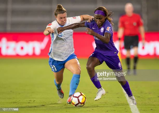 Orlando Pride forward Chioma Ubogagu gets challenged by Sky Blue FC Savannah McCaskill during the NWSL soccer match between the Orlando Pride and New...