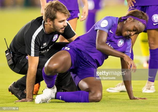 Orlando Pride forward Chioma Ubogagu gets injured from a collision with Sky Blue FC midfielder Christina Gibbons during the NWSL soccer match between...