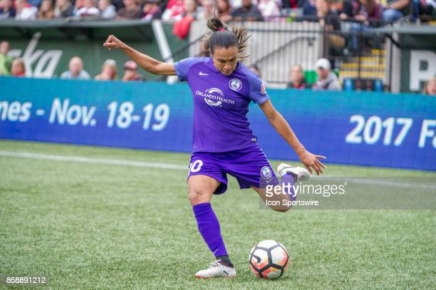 Orlando Pride forward Marta during the first half of the play offs semifinals between the Portland Thorns and the Orlando Pride at Providence park on...