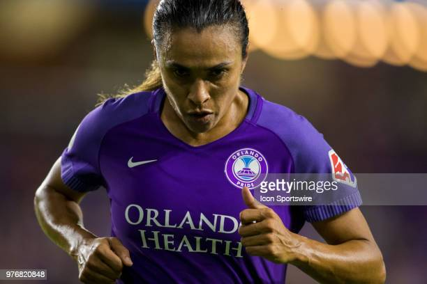 Orlando Pride forward Marta during the soccer match between The Orlando Pride and Sky Blue FC on June 16 2018 at Orlando City Stadium in Orlando FL
