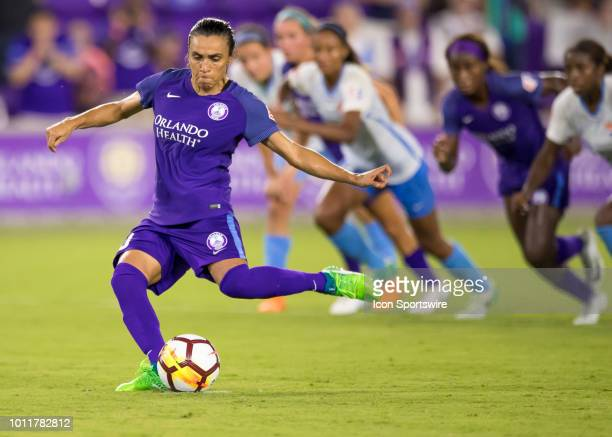 Orlando Pride forward Marta shoots a PK during the NWSL soccer match between the Orlando Pride and New Jersey Sky Blue FC on August 5th 2018 at...