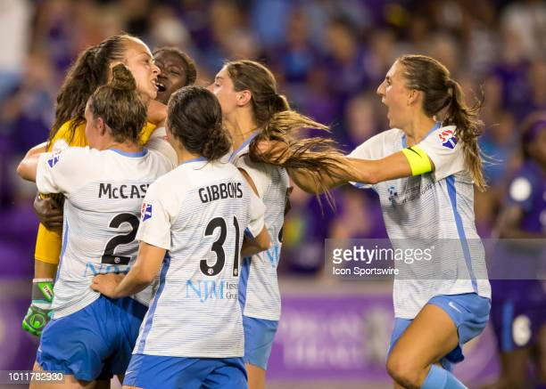 Orlando Pride forward Marta shoots hard but miss chooses her spot as Sky Blue FC goalkeeper Kailen Sheridan make a game saving PK save during the...