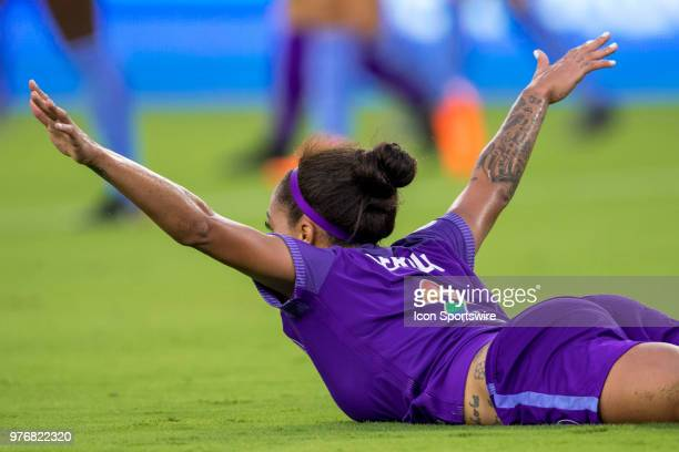 Orlando Pride forward Sydney Leroux celebrates after scoring a goal during the soccer match between The Orlando Pride and Sky Blue FC on June 16 2018...