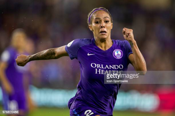 Orlando Pride forward Sydney Leroux during the soccer match between The Orlando Pride and Sky Blue FC on June 16 2018 at Orlando City Stadium in...