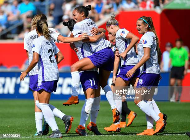 Orlando Pride forward Sydney Leroux hugs Orlando Pride defender Ali Krieger after scoring against the Chicago Red Stars on May 26 2018 at Toyota Park...