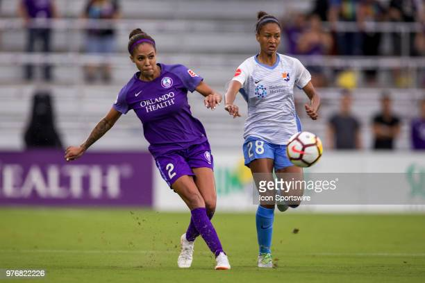 Orlando Pride forward Sydney Leroux kicks the ball during the soccer match between The Orlando Pride and Sky Blue FC on June 16 2018 at Orlando City...