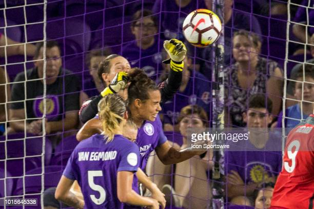 Orlando Pride goalkeeper Ashlyn Harris punches the ball away during the soccer game between the Orlando Pride and the Portland Thorns on August 11...
