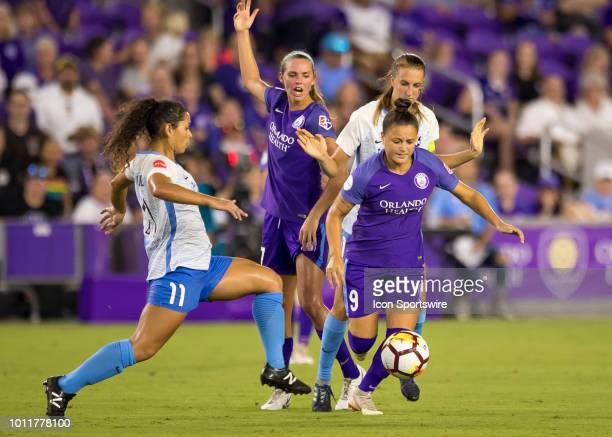 Orlando Pride midfielder Camila looks to pass during the NWSL soccer match between the Orlando Pride and New Jersey Sky Blue FC on August 5th 2018 at...
