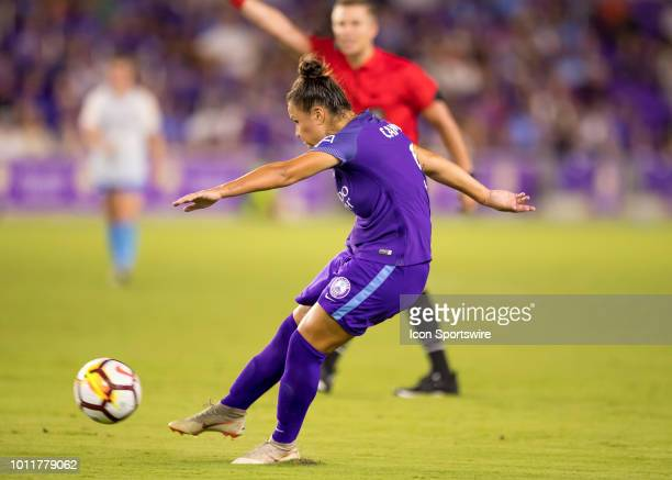 Orlando Pride midfielder Camila shoots on goal during the NWSL soccer match between the Orlando Pride and New Jersey Sky Blue FC on August 5th 2018...