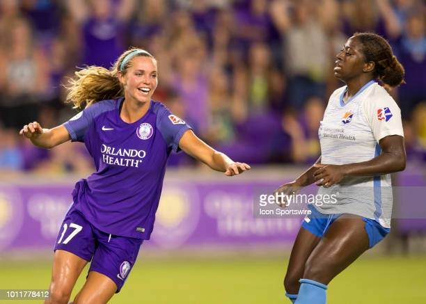 Orlando Pride midfielder Dani Weatherholt celebrates her goal during the NWSL soccer match between the Orlando Pride and New Jersey Sky Blue FC on...