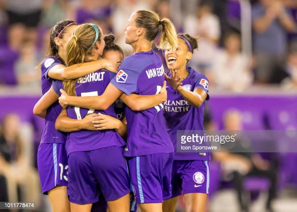 Orlando Pride midfielder Dani Weatherholt celebrates her goal with the Orlando Pride players during the NWSL soccer match between the Orlando Pride...