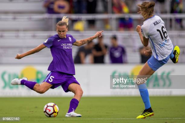 Orlando Pride midfielder Emily Van Egmond kicks the ball during the soccer match between The Orlando Pride and Sky Blue FC on June 16 2018 at Orlando...