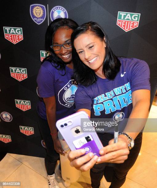 Orlando Pride player Ali Krieger takes a selfie during the kickoff of the Tag Heuer new partnership with Orlando City SC Orlando Pride on May 3 2018...