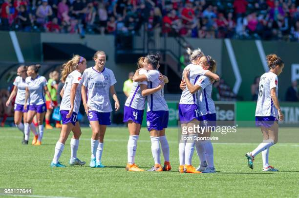 Orlando Pride players Mónica and Ali Krieger celebrate their 21 victory during an NWSL soccer match between the Portland Thorns and the Orlando Pride...