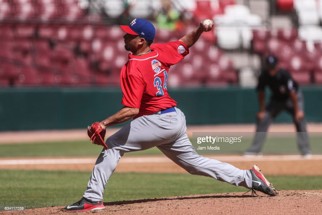 Orlando Roman pitcher of Puerto Rico throws the ball during a game between Puerto Rico and Venezuela as part of the Baseball Caribbean Series Culiacan 2017 at Tomateros Stadium on February 06, 2017 in Culiacan, Mexico.