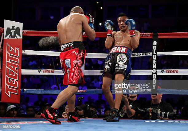 Orlando Salido forces Francisco Vargas into the ropes during their WBC super featherweight championship bout at StubHub Center on June 4 2016 in...