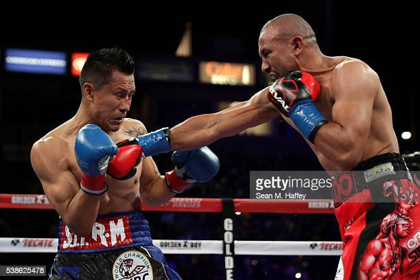 Orlando Salido throws a jab at Francisco Vargas during their WBC super featherweight championship bout at StubHub Center on June 4 2016 in Carson...