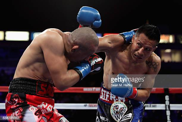 Orlando Salido throws a punch at Francisco Vargas during their WBC super featherweight championship bout at StubHub Center on June 4 2016 in Carson...
