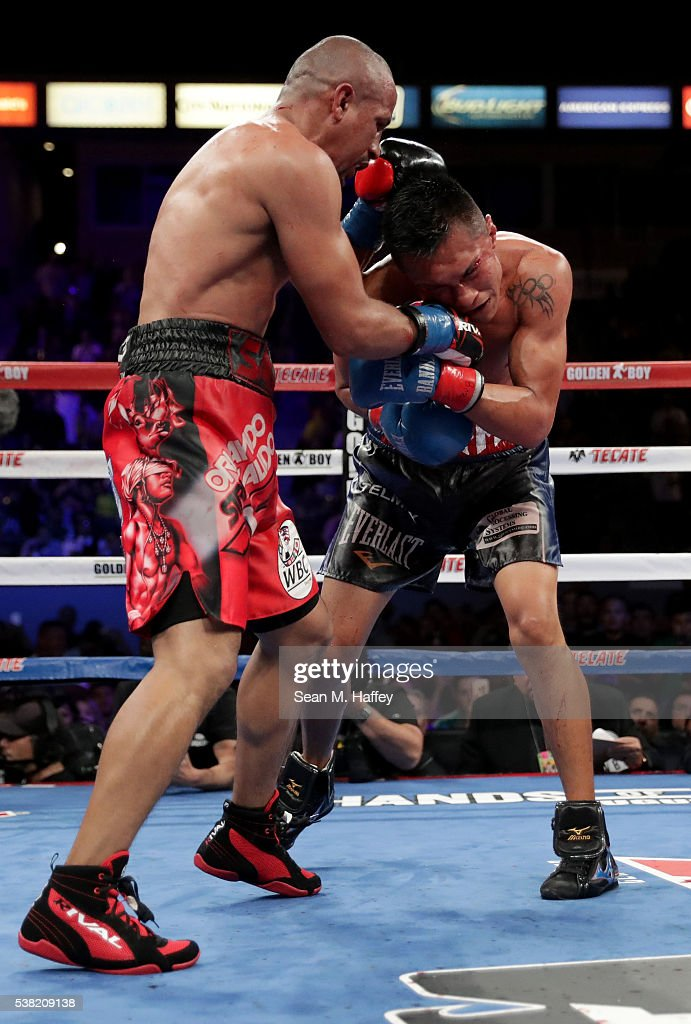 Orlando Salido (L) throws a right to the head of Francisco Vargas during their WBC super featherweight championship bout at StubHub Center on June 4, 2016 in Carson, California.