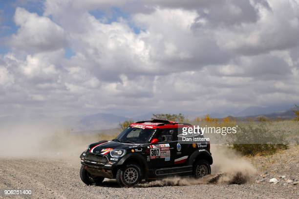 Orlando Terranova of Argentina and Mini XRaid drives with codriver Bernardo Graue of Argentina in the Mini John Cooper Rally Works car in the Classe...