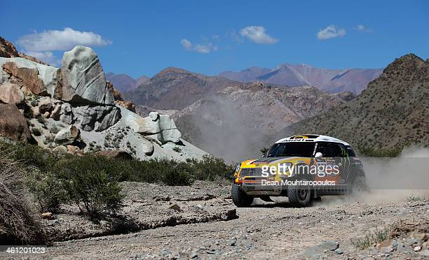 Orlando Terranova of Argentina and Paulo Fiuza of Portugal in the MINI for Monster Energy XRaid Team compete on Day 3 of the Dakar Rally 2014 on...