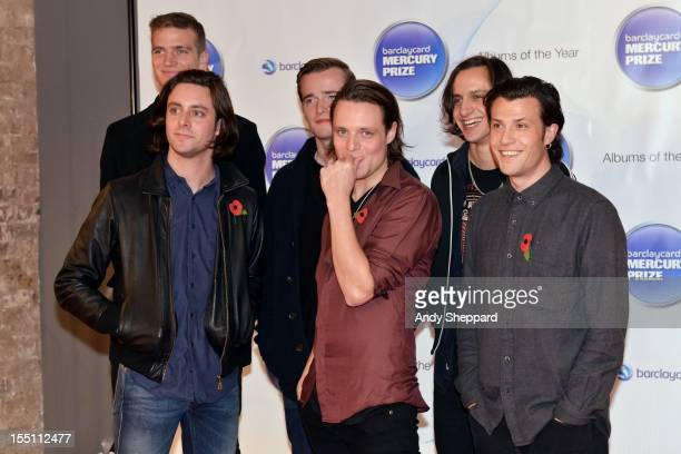 Orlando Weeks and fellow members of the Maccabees pose at the nominee arrivals area during the Mercury Music Prize Awards Ceremony at The Roundhouse...